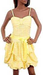 Sexy Yellow Stripe Cocktail Party Bubble Sundress Dress SML (Small)