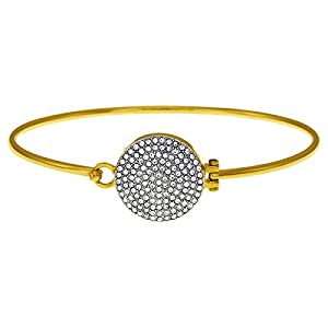 Michael Kors MKJ3891 Gold Tone Bangle Bracelet W Czech Crystals Charm Disc