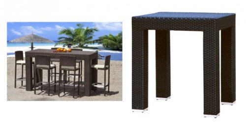 "Amalfi 4 Seat Outdoor Bar Table (Espresso) (40""H x 40""W x 40""D)"