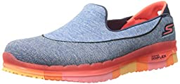 Skechers Performance Women\'s Go Flex Slip-On Walking Shoe, Navy/Coral, 5 M US