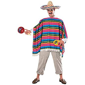 Amazon.com: GSG Poncho & Sombrero Adult Mexican Costume
