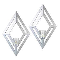Elements Diamond Plastic Sconces, 16-Inch, Silver, Set of 2