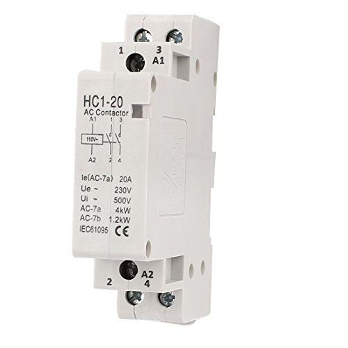 110V 20A 35mm DIN Rail Mount 2 Pole Definite Purpose AC Contactor 2 Pole Contactor Type