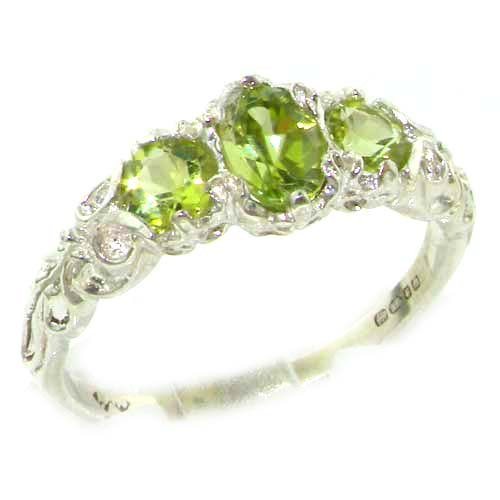 Ladies Solid Sterling Silver Natural Peridot English Victorian Trilogy Ring - Size 12 - Finger Sizes 5 to 12 Available - Suitable as an Anniversary ring, Engagement ring, Eternity ring, or Promise ring