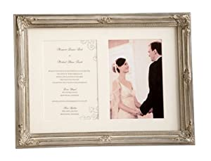 Set of 2 Elegant Wedding Photo and Invitation Silver Frames 14.75""