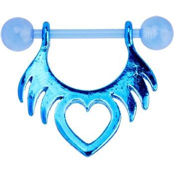 Stunning Bioplast Blue Tribal Heart Nipple Shield Piercing Jewelry