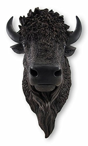 Real Looking Black Buffalo / Bison Wall Mount Head (Bison Head compare prices)