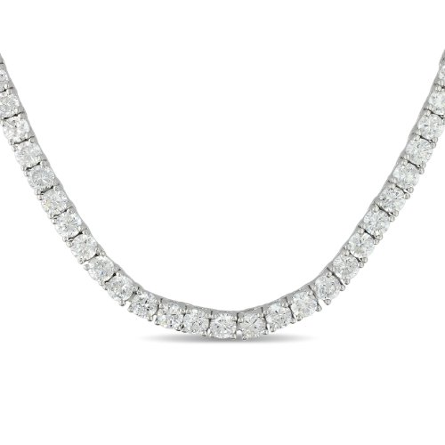 Sterling Silver Round Cubic Zirconia Tennis Bracelet with Pressure Tongue Clasp, 17