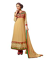 Idha Beige Semi-Stitched Embroidered Salwar Suit For Women