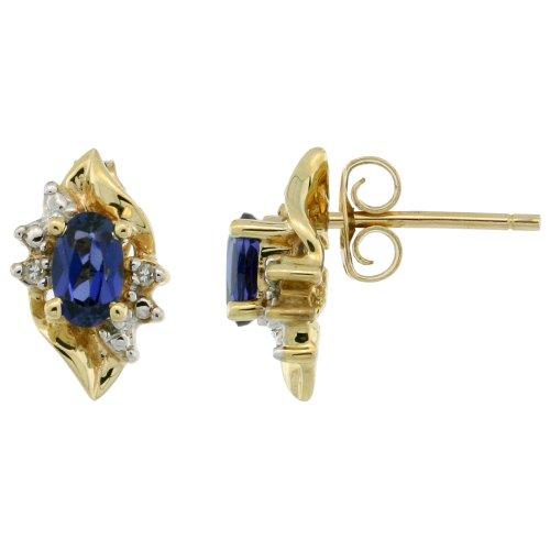 Revoni 9ct Gold Leaf-shaped Stud Earrings w/ Brilliant Cut Diamonds & Oval Cut (5x3mm) Lab Created Blue Sapphire Stones, 7/16 in. (11mm) tall