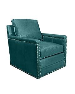Com avis st clair peacock blue leather swivel chair peacock