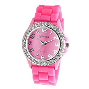 Women's Geneva PINK Platinum Silicone Rubber Jelly with CZ Crystal Rhinestones Face Bling Bezel