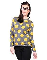 Kalt Women's Cotton Sweater (W102 MGMM M _Medium_Medium Grey Melange::Mustard)