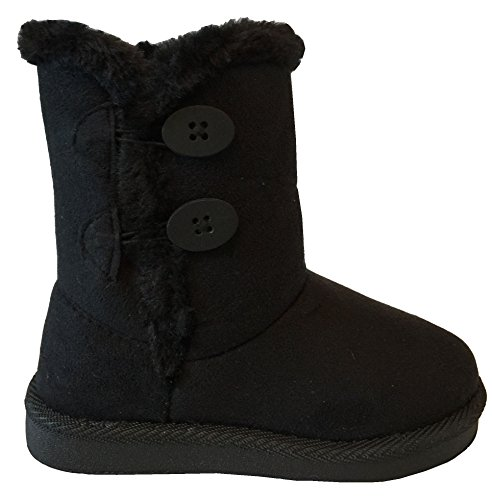 NEW Babys Girls Infant Kids Toddler Flat Winter Fur Boots Pom Pom Shoes Sz 2-8 (5 Toddler, BlackCutie A)