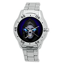 buy Daguys Custom Smoking Skull Steel Metal Leather Band Watch Wrist Watch For Men Xmas Gift