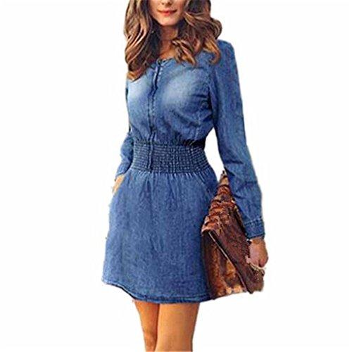 Women Dress,Haoricu Fall Vintage Autumn Spring Women Long Sleeved Slim Casual Denim Jeans Mini Party Dress (L, Blue)