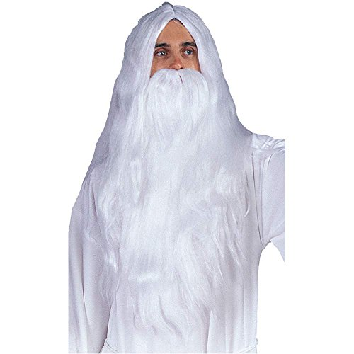 White Wizard Wig & Beard Set - One Size
