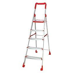Cipla Plast Folding Aluminium Ladder - Diamond 5 steps + Free 14 Pcs Multipurpose Buffers - GEC-L5D