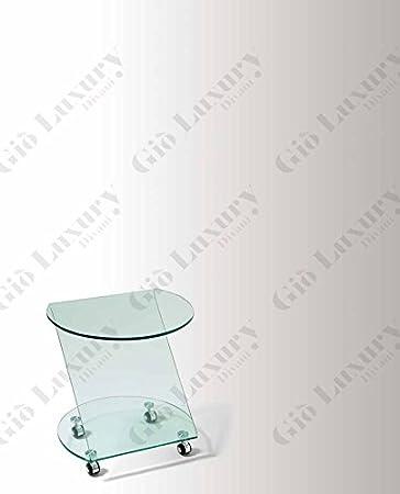 """Mesa """"Andrey"""" con estructura de vidrio y acabado de color transparente - 51 x 40 x 50"""