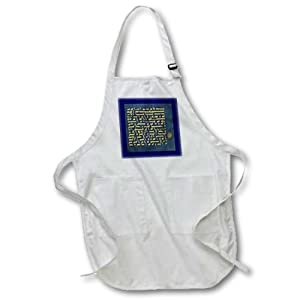 apr_163450_2 Florene Religions - Image of Arabic Golden Calligraphy From Blue Quran - Aprons - Medium Length Apron with Pouch Pockets 22w x 24l