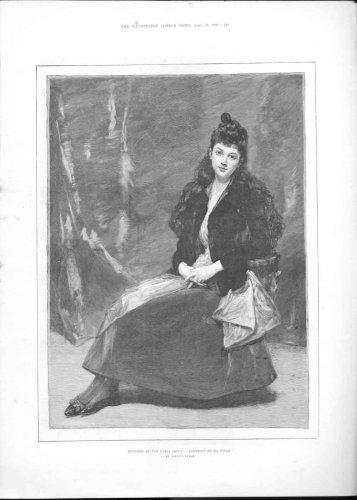 Portrait De Ma Fille By Duran Antique Art Print 1888