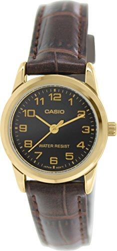 CASIO LTP-V001GL-1 - Reloj de pulsera, para mujer, color negro y marrón