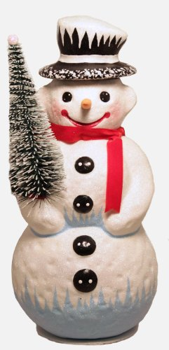 Ino Schaller Large Glitter Top Hat Snowman German Paper Mache Candy Container