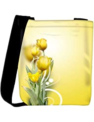 Snoogg Beautiful Yellow Tulips Background Womens Carry Around Cross Body Tote Handbag Sling Bags