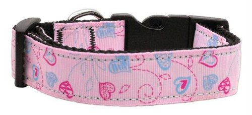 Mirage Pet Products Crazy Hearts Nylon Collars, Large, Light Pink