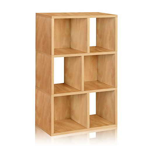 Way Basics Eco 3 Shelf Laguna Bookcase and Cubby Storage, Natural (made from sustainable non-toxic zBoard paperboard) Kids 3 Shelf Bookcase