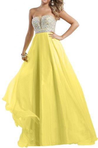 Gorgeous Bride Exquisit Lang Traegerlos A-Linie Chiffon Kristall Abendkleid Festkleid Ballkleid -48 Gelb