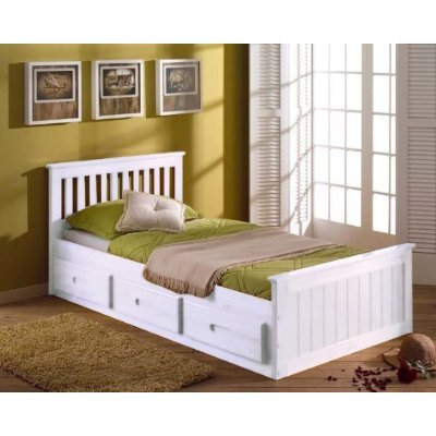 3FT SINGLE PINE KIDS CHILDRENS CAPTAIN CABIN STORAGE BED IN A WHITE FINISH