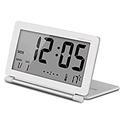 eBoTrade New Version Multifunction Silent LCD Digital Large Screen Travel Desk Electronic Alarm Clock, Date/Time/Calendar/Temperature Display, Snooze, Folding White & Silver