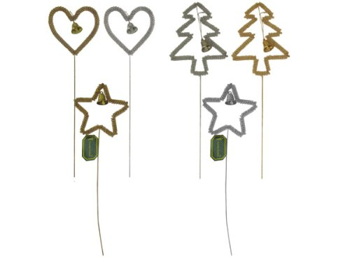 15 inch wire assorted shape picks gold or silver - Pack of 48