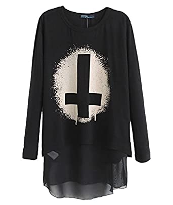 Womdee Rock Printed Loose Cross Long Sleeve T-shirt(Black, S) With Womdee Accessory