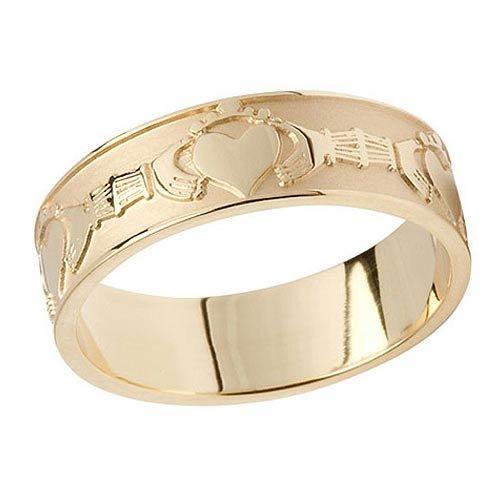 Irish Boru 10K Gold Claddagh Ladies Wedding Band Size 5