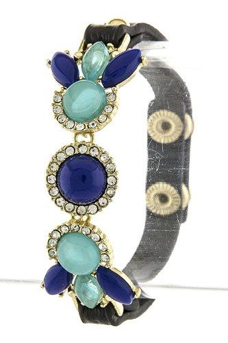 Trendy Fashion Jewelry Round Jewel Wrap Bracelet By Fashion Destination | (Blue)