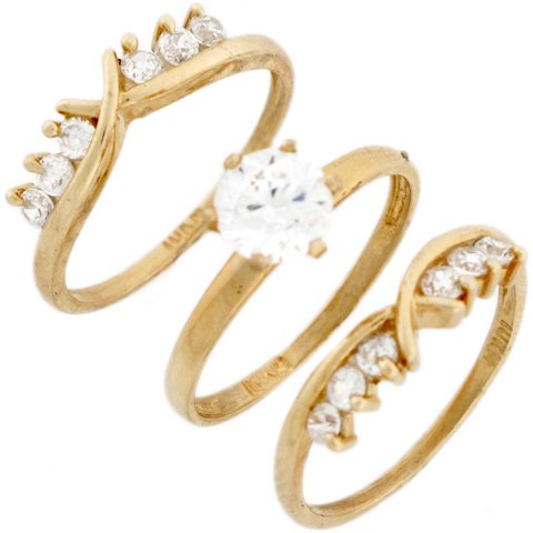 9ct Yellow Real Gold Round CZ Stylish Triplet Wedding Womens Ring