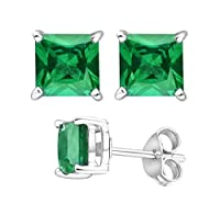 2.00 Carat Total Weight 925 Sterling Silver Earrings. 1.00 Carat Each Stone. Created CZ Green Emerald from U.S.A