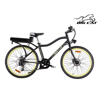 Big Cat Electric Bikes Ghost Rider Bicycle, 26-Inch/One Size, Yellow Wheels