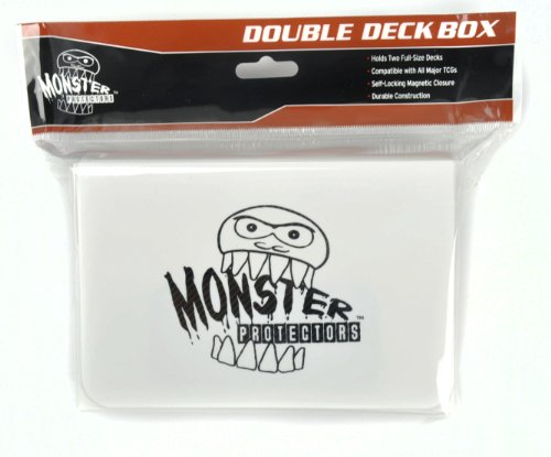Monster Protectors Trading Card Double Deck Box with Self-locking Magnetic Closure - White (Fits Yugioh, Pokemon, Magic the Gathering Cards)