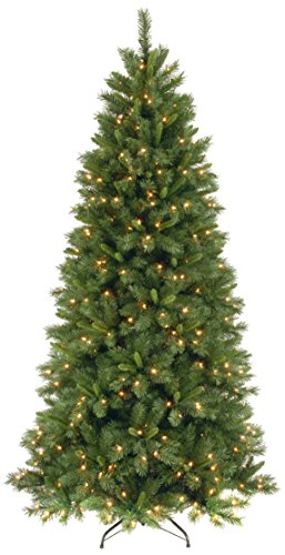 National Tree Lehigh Valley Pine Slim Hinged Tree, 7-1/2-Feet, 450 Low Voltage Dual Led Lights, 9-Function Footswitch
