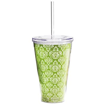 Green Damask Double Wall Tumbler