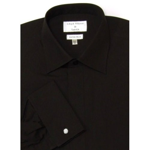 Mens Standard Collar Cotton Rich Formal Dress Shirt Black with Double Cuff