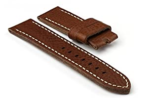 StrapsCo Thick Medium Brown 24mm Premium Leather Watch Band