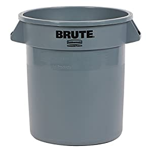 Rubbermaid Commercial RCP2610GRA Brute Refuse Container, Round, Plastic, 10 Gall, Gray