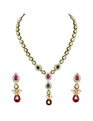 Sukkhi Gold Plated Single String Ruby Emerald Studded AD Necklace Set For Women