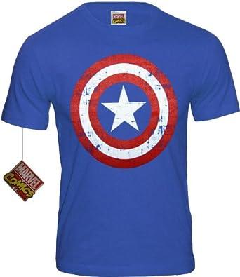 Marvel Comic - Captain America Vintage Logo Retro Herren T-Shirt (Cobalt Blau) (S-XL) (L)