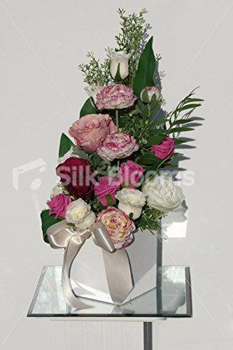 Renoncule Rose Ivoire & & composition florale sur la face avant