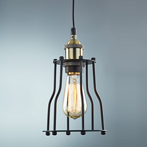 Ecopower Industrial Edison Hanging Light Vintage Cage Featured Lamp Guard 1-Light